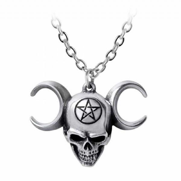 ALCHEMY GOTHIC  Lune Mystique Skull Necklace